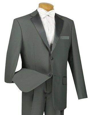 Men's Gray Classic-Fit Formal Tuxedo Suit w/ Sateen Lapel & Trim NEW Wedding
