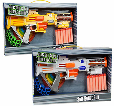 Action Reload Soft Foam Dart Bullet Gun + Dart Holder Nerf Style Toy New Boxed