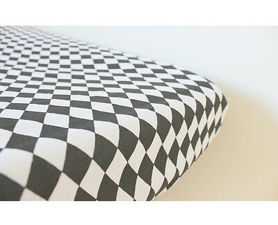 GOOSEBERRY Fitted Change Mat Pad Table Cover Cotton Monochrome Black & White