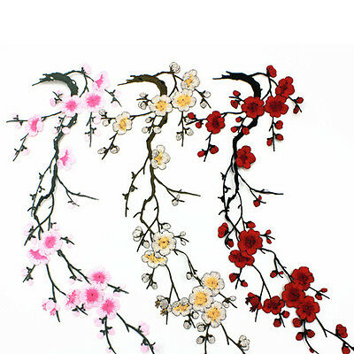 Embroidered Plum Blossom Flower Patch Iron/Sew on Applique Motif Craft QW