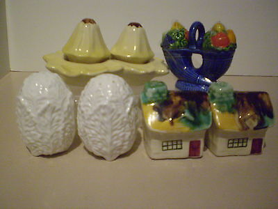 VINTAGE SALT AND PEPPER SHAKERS x 4 EXCELLENT CONDITION  - CUTE & QUIRKY 1950'S