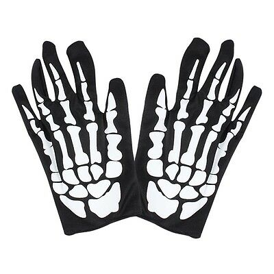 1 Pair Come Christmas Halloween Skeleton Ghost Claw Gloves Black/White Hot