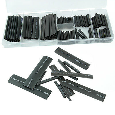127pc Black Heat Shrink Tube Assortment Wire Wrap Electrical Insulation Sleeving