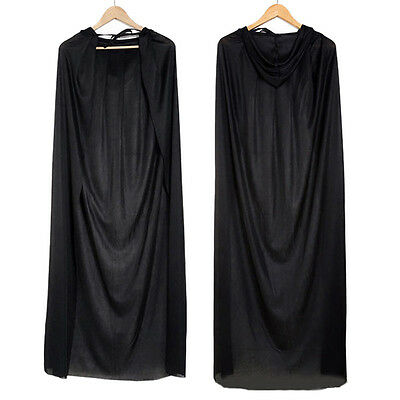 1xGothic Hooded Cloak Wicca Robe Medieval Witchcraft Cape Halloween Fancy Dress