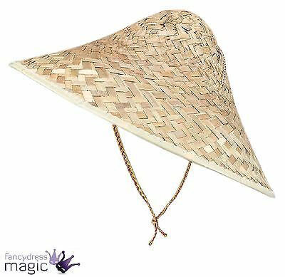 Men Ladies Adult Chinese Straw Coolie Oriental Hat Fancy Dress Costume Accessory
