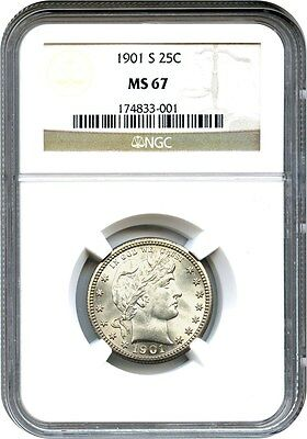 1901-S 25c NGC MS67 - Amazing and Beautiful Gem Key Date - Barber Quarter