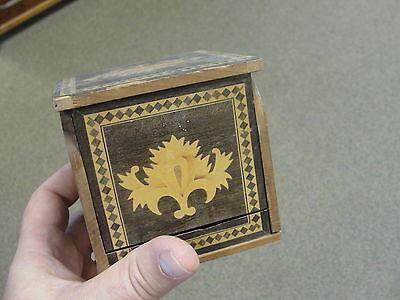 "Antique 1930's 3.5"" Folding Cubic Floral Inlaid Wood Humidor Cigar Cigarette Box"