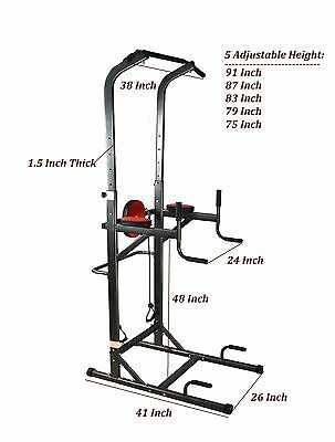New Deluxe Power Tower Chin Up Station Knee Dip Push Up Pull Up Raise Vkr Gym