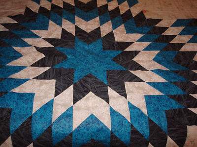 TURQUOISE BLK/WHT STAR QUILT TOP - Not Quilted-Machine Pieced, Made in the USA!