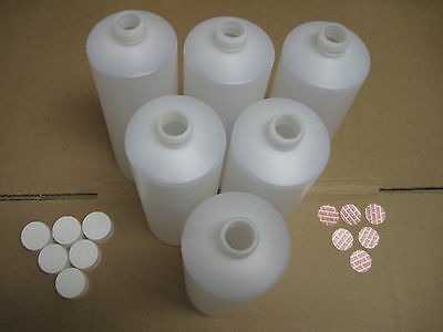 6 -  1000 Ml Hdpe Plastic Bottles W/ Cr Caps And Seals