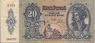 Hungary P109, 20 Pengo, Woman's bust with laurel in hair / farm couple 1941