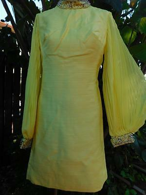 VINTAGE JACKIE- O 1950s WIGGLE SILK YELLOW SUIT SET COAT DRESS HEAVILY BEADED