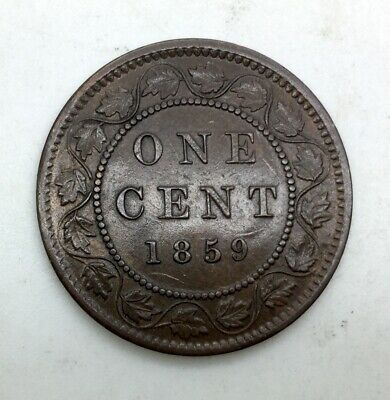 Canada 1859 Narrow 9 Large  Cent Study Piece Huge Cracks Die Clashes