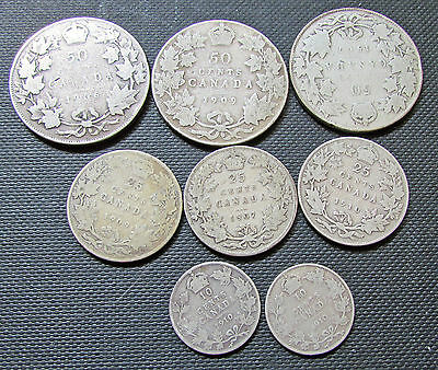 Canada 10  25 50 Cents Silver Coins Edward VII Lot 1910 1907 1909 1910 1906 ++
