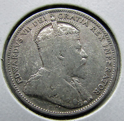 Canada 1909 25 Cents Silver Quarter Edward VII Lots Of Remaining Lustre