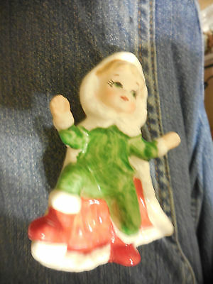 Japan 50S Girl In Santa Cape With One Foot Up 3 1/2""