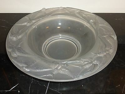 Fabulous Lalique Style Crystal Bowl with 12  High Relief Flying Swallows 13""