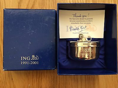 BNIB Collectable ING ?Silver plated TRINKET BOX with lion on lid in display box