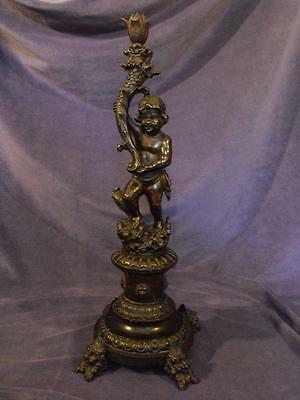 Carved Black Walnut Rococo Cherub Vienna Carved Candle Stick W Grotesque Fish