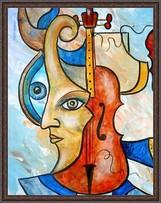 Painting Original OIL on canvas Fine contemporary art impressionism RED VIOLIN