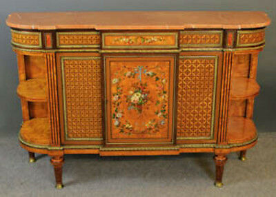 Vict Howard & Son satinwood inlaid marble top side cabinet exhibition quality