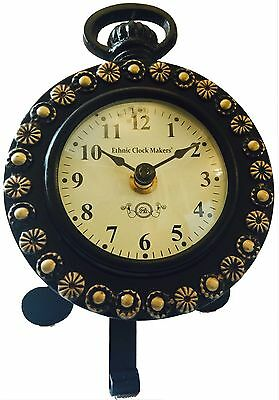 Antique Style Craft Wooden Table Clock Gift Decor Ethnic  Iron Stand Handmade