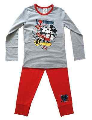 Girls MINNIE & MICKEY MOUSE I Love Minnie Pyjama Set Pyjamas 5 6 7 8 9 10 11 12