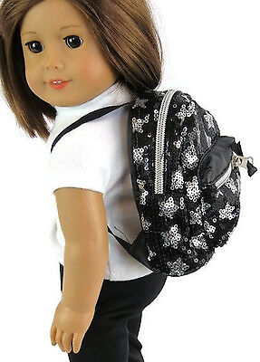 "Black & Silver Sequined Backpack made for 18"" American Girl Doll Clothes"