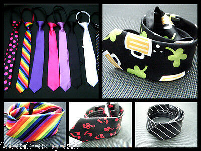 Mens Novelty Fashion Satin Style Bow Neck Tie 10+ Colours Clover Skulls Checked