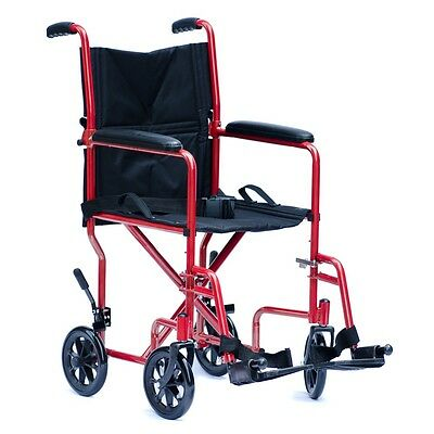 Viva Medi Steel Red Transit Wheelchair with 19 Seat Width