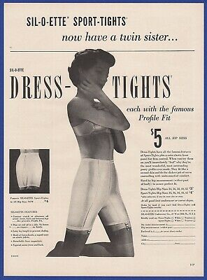 Vintage 1949 SIL-O-ETTE Dress-Tights Women's Fashion Lingerie Print Ad 1940's