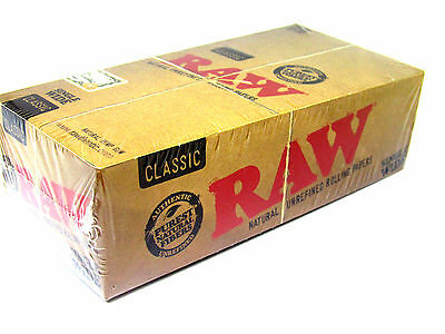 Raw Classic Rolling Papers Single Wide 25 Packs 100 Leaves RYO BOX New