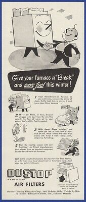 Vintage 1944 DUSTOP Air Filters WWII RARE Art Decor Print Ad 1940's