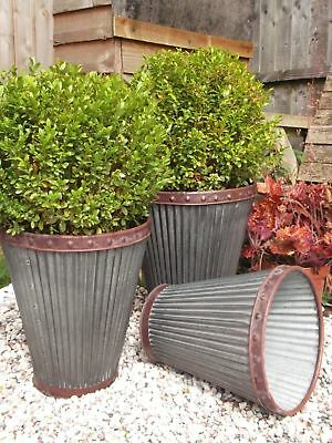 Vintage Style Large Round Metal Garden Planters Tubs Flower Pots - 3 Sizes - New