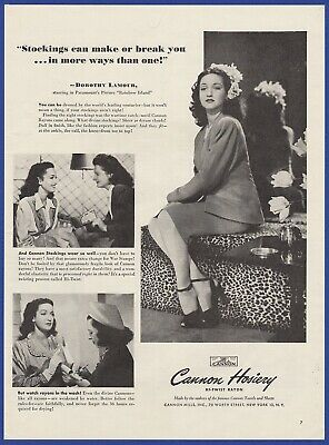 Vintage 1944 CANNON HOSIERY Dorothy Lamour Stockings Art Deco Print Ad 1940's