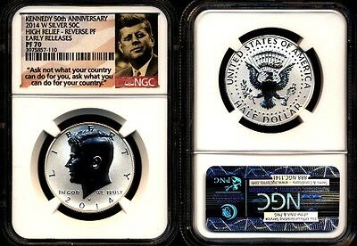 2014 W Ngc Pf70 Reverse Proof Silver Kennedy Half 50Th Anniversary Ask Not Label