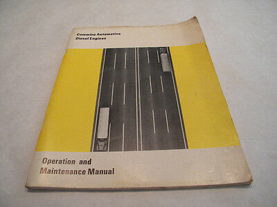Vintage 1971 CUMMINS Automotive Diesel Engine Operation & Maintenance Manual