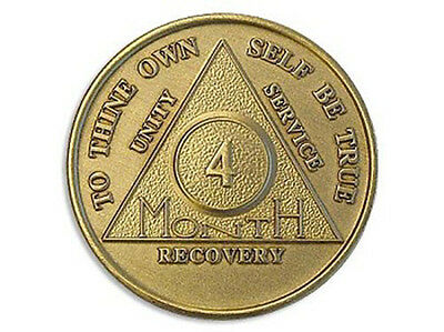 Alcoholics Anonymous 4 Month Sobriety Coin Chip Medallion Medal Token AA