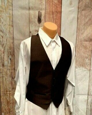 Chocolate Brown Black Basketweave Tuxedo Vest One Size Fits All