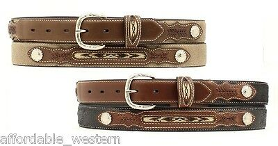 -KID'S WESTERN Leather BELT ~ Tapestry Inlay ~ Silver BUCKLE ~ Cowboy NOCONA