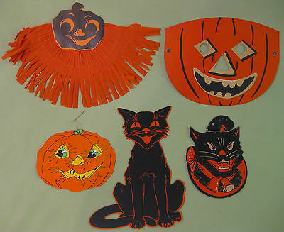 Antique Halloween Decorations Bundle of 5