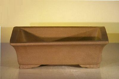 "Ceramic Bonsai Pot Rectangular Unglazed DrkTan Sq Corners Large 10""x7.825""x3.125"