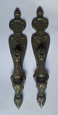 "2 Teardrop Pendant Brass Handles  Drawer Pulls 5 3/4"" Ornate Vertical #H19"