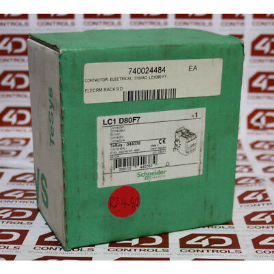 Schneider LC1 D80F7 37kW 400V - 60HP 460V - 110V COIL - New Surplus Open