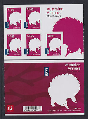 Australia 2016 : Australian Animals Monotremes,Sheetlet of 5 x 2.95 s/a Stamps