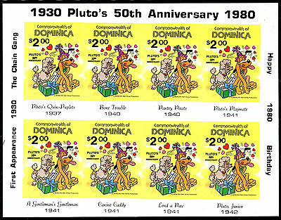 Dominica 1980 Disney Pluto's 50th Birthday sheetlet IMPERFORATE fine, fresh MNH