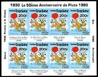 Togo 1980 Disney Pluto's 50th Birthday sheetlet of 8 IMPERFORATE fine fresh MNH