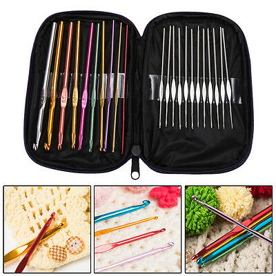 22pcs/Set Aluminum Crochet Hooks Needles Knit Multi Color Knit Weave Craft Yarn