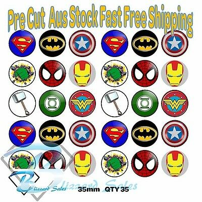30X Marvel Superhero Avengers Edible Cupcake Toppers 35mm Wafer Birthday Cake De