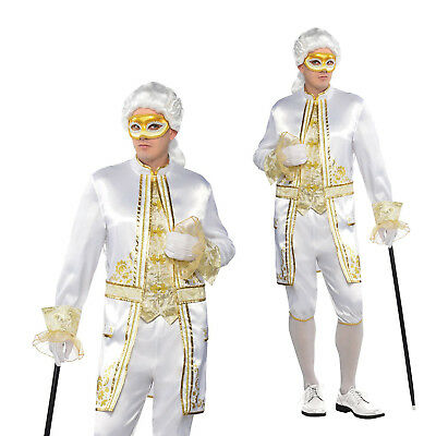 Adults Casanova Mens Renaissance Venice Masquerade Fancy Dress Costume & Mask